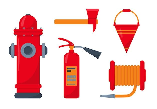 Ferramentas de fogo vermelho isoladas no fundo branco. equipamento de extinção de incêndio.