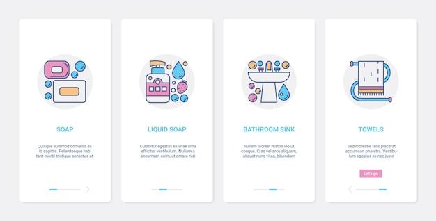 Ferramentas de higiene para lavagem das mãos equipamentos de banheiro ux ui aplicativo móvel conjunto de tela de páginas