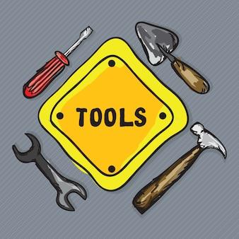 Ferramentas de ícones de construção (martelo de espátula de chave de fenda)
