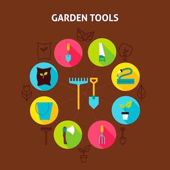 Ferramentas de jardim de conceito. ilustração em vetor de círculo de infográficos de natureza primavera com ícones planas.