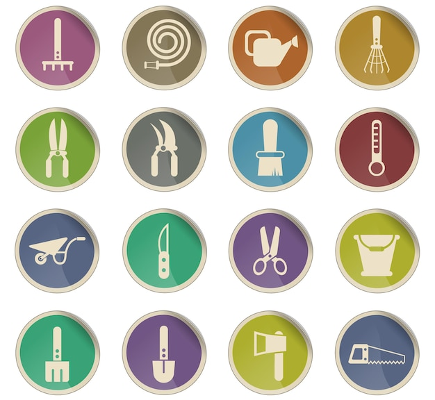 Ferramentas de jardim vetoriais ícones na forma de etiquetas redondas de papel
