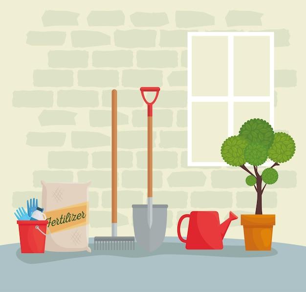 Ferramentas de jardinagem balde saco de fertilizante rake pá regador e projeto de planta, plantio de jardim e natureza Vetor Premium