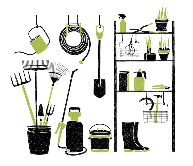 Ferramentas de jardinagem desenhadas à mão e armazenadas em prateleiras, em pé e penduradas ao lado dela no branco