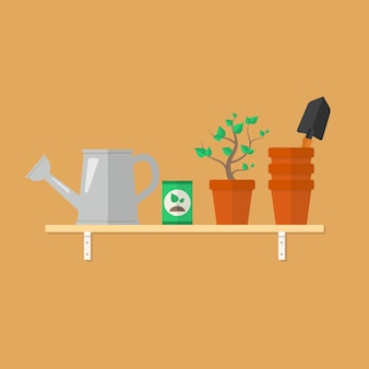 Ferramentas de jardinagem e produtos em uma prateleira de madeira