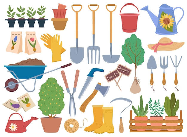 Ferramentas de jardinagem, equipamentos e plantas para jardim de primavera, mudas, conjunto de vetores de elementos de horticultura