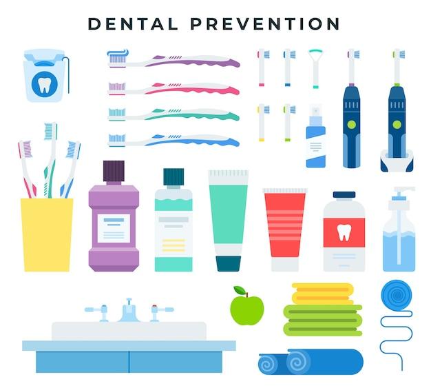 Ferramentas de limpeza dentária para higiene bucal preventiva