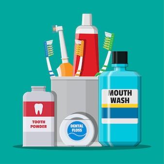 Ferramentas de limpeza dentária. produtos de higiene bucal