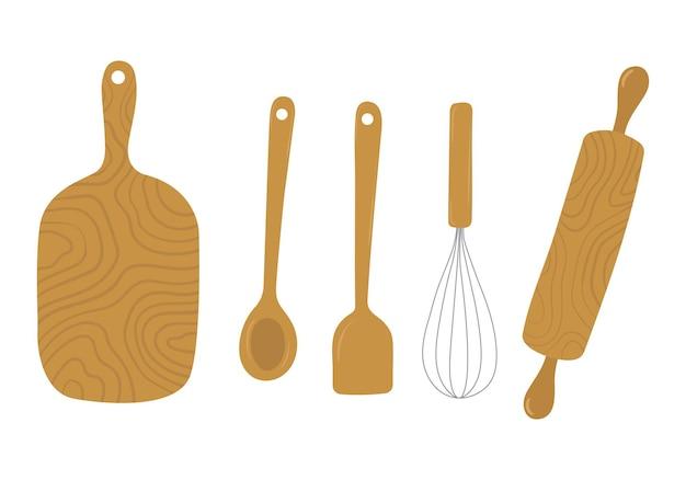 Ferramentas de madeira para cozinha desenhadas à mão, rolo de massa, colher, tábua de corte