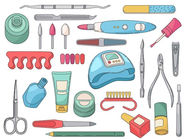 Ferramentas de manicure. acessórios e equipamentos de salão para o cuidado das unhas. frasco polonês e pincel, creme para as mãos, arquivo, tesoura e conjunto de vetores de tesoura. lâmpada ultravioleta e loção isoladas em branco