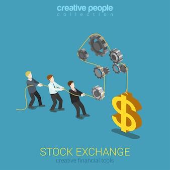 Ferramentas de mercado de instrumentos financeiros de bolsa de valores equilibrar web 3d plana