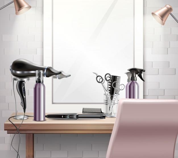 Ferramentas de penteado para composição de penteado e corte de cabelo com espelho realista