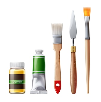 Ferramentas de pintura realistas com tubos de tinta a óleo, pincéis e espátula