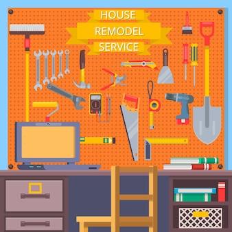 Ferramentas de remodelação de casas. conceito de construção com ícones planos. Vetor Premium