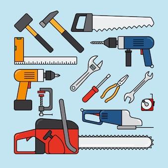 Ferramentas de reparação e ícone de ferramentas de construção