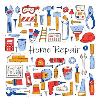 Ferramentas de reparo doméstico, instrumentos de desenho animado