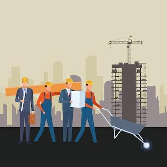 Ferramentas de trabalhadores de trabalhadores de construção