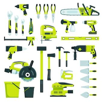 Ferramentas de trabalho, construção, reparo, equipamentos, construção, instrumentos, martelo, chave, alicate, vetorial, conjunto