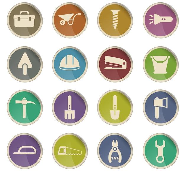 Ferramentas de trabalho vetoriais ícones na forma de etiquetas redondas de papel