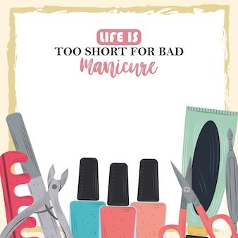 Ferramentas de tratamento de manicure, esmaltes para unhas, tesouras separadoras de dedos em ilustração de estilo cartoon