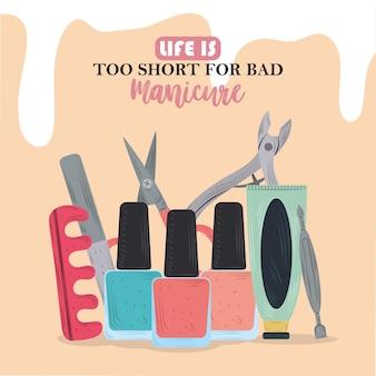 Ferramentas de tratamento de manicure, esmaltes separadores de dedo, tesoura, lixa de unha e creme na ilustração dos desenhos animados
