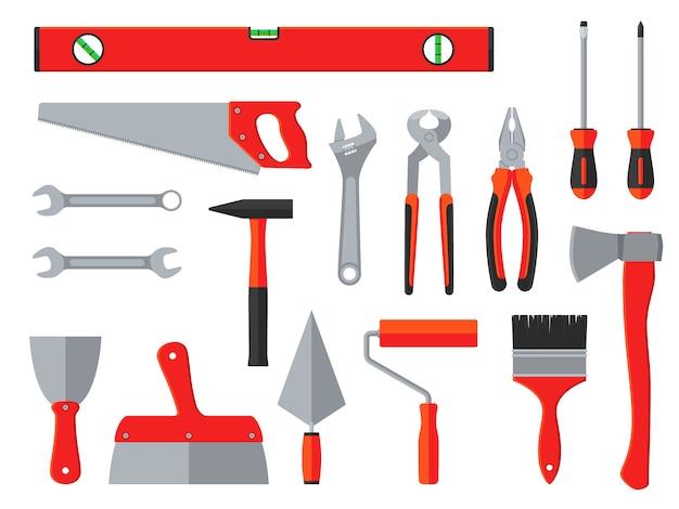 Ferramentas de vetor de reparação e construção. caixa de ferramentas do agregado familiar
