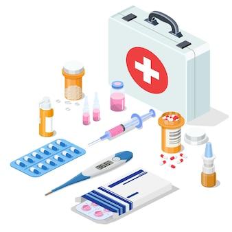 Ferramentas e medicamentos do kit de primeiros socorros 3d isométrico.