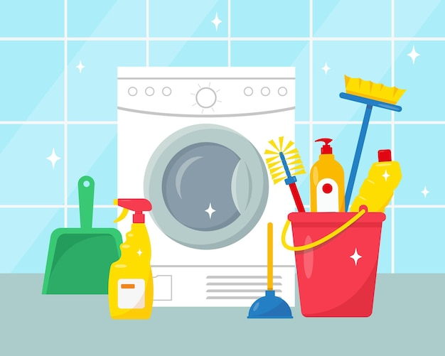 Ferramentas e produtos de limpeza doméstica perto da máquina de lavar