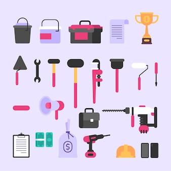 Ferramentas e vários itens de construção. conjunto de objetos. ilustração vetorial