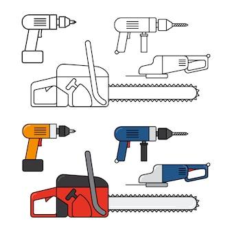 Ferramentas elétricas para reparo doméstico - motosserra, broca, conjunto de ícones de linha de quebra-cabeças