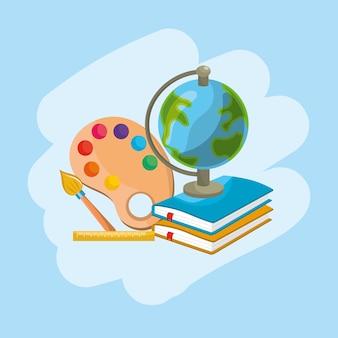 Ferramentas escolares para a educação e aprender coisas