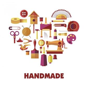 Ferramentas especiais para criação de produtos artesanais em formato de coração