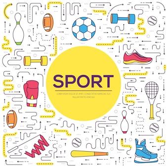 Ferramentas esportivas de linha fina modernas. equipamento de infográfico para estilo de saúde. ícones em branco isolado.
