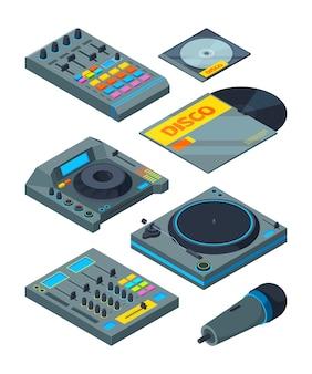 Ferramentas isométricas de dj. vários instrumentos para dj