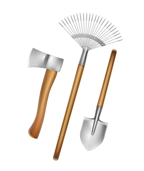 Ferramentas manuais de jardinagem: ancinho, pá, machado com cabo de madeira