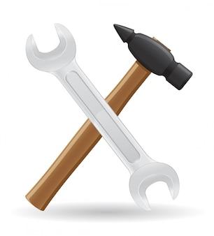 Ferramentas martelo e chave inglesa ilustração vetorial