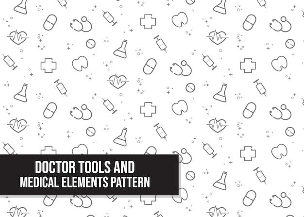 Ferramentas médicas e padrão de elementos médicos cartoon desenhado à mão cartoon art illustration