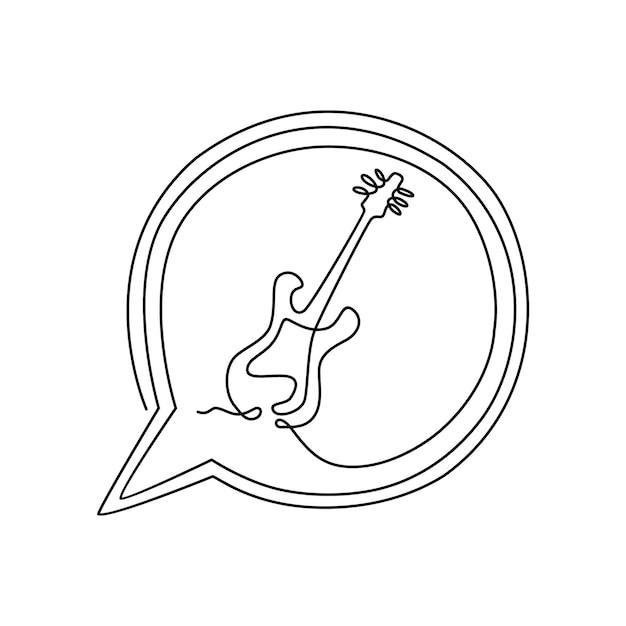 Ferramentas musicais de guitarra elétrica um desenho de linha contínua