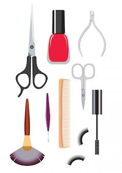 Ferramentas para cortes de cabelo e manicure