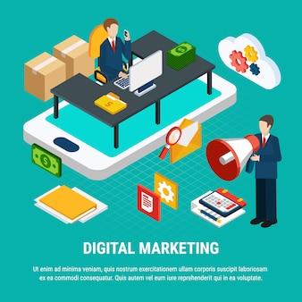 Ferramentas para ilustração 3d isométrica de marketing móvel digital