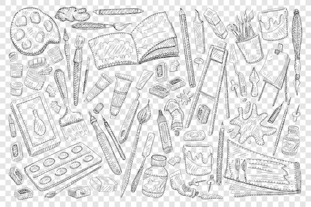 Ferramentas para pintar e desenhar ilustração de conjunto de doodle