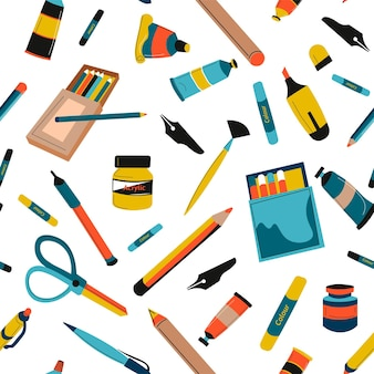Ferramentas para pintar pincéis e cores em tubos