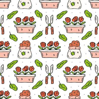 Ferramentas, potes e flores de jardim doodle padrão sem emenda desenhada de mão
