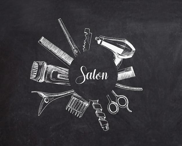 Ferramentas profissionais de cabeleireiro com cópia de espaço de texto ilustração em vetor esboço desenhado à mão