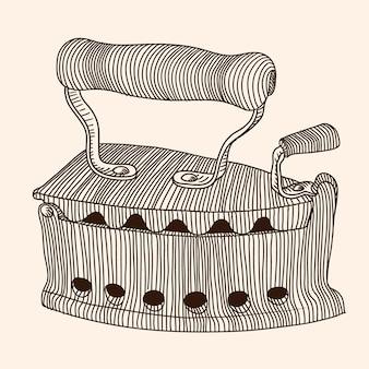 Ferro a carvão vintage antigo com cabo de madeira. desenho linear de mão.