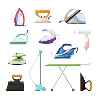 Ferro de engomar eletrodoméstico vetor ferro de lavar roupa de uso doméstico ilustração conjunto de limpeza ironia de conjunto de ícones isolados de equipamento a vapor quente ironia