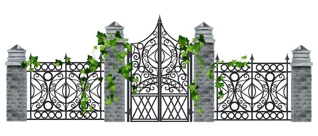 Ferro forjado portão de metal velho vetor cerca ilustração coluna de pedra folha de hera alpinista planta