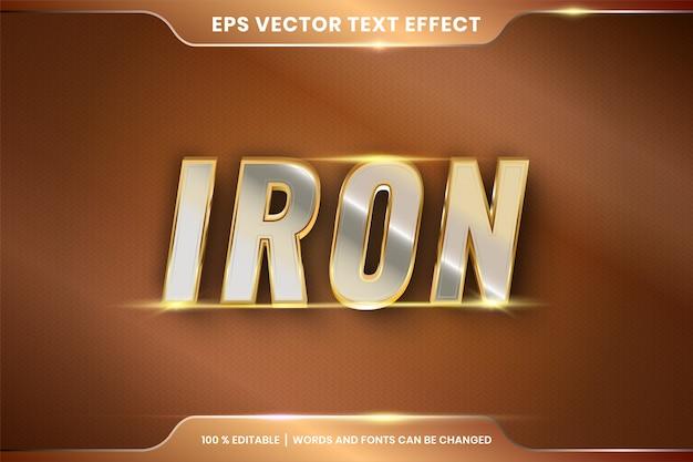 Ferro prata e ouro efeito de texto editável