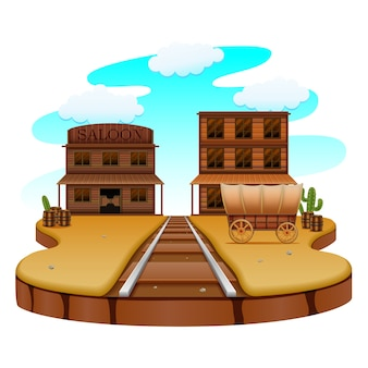 Ferrovia na cidade ocidental