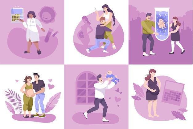 Fertilização in vitro, conjunto de composições quadradas com personagens humanos de mulheres grávidas, médicos e ilustração de calendários