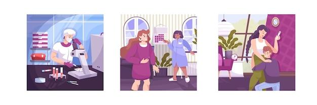 Fertilização in vitro, conjunto de três composições quadradas com laboratório de pesquisa, vistas de médicos e ilustração de personagens mães